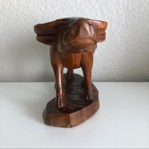 Hand Crafted Accents - Hand Carved Wooden Bull Cow Figure Statue